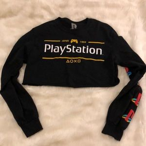 Tops - PlayStation japan cropped long sleeve